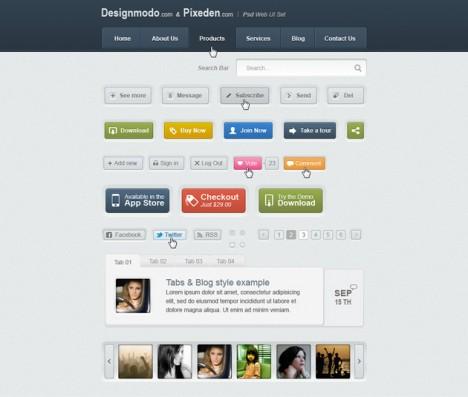 Plantilla de elementos web para Photoshop exclusivos