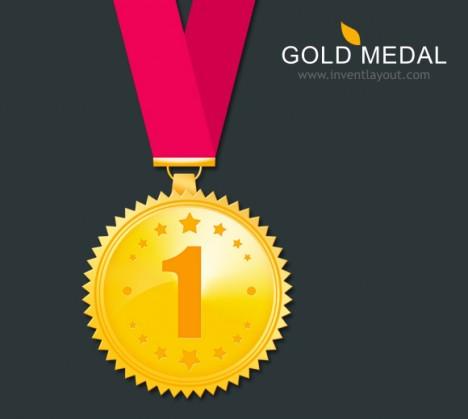 Plantilla de medalla de oro PSD para premiaciones