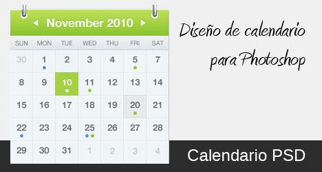 Plantilla con diseño de calendario para Photoshop