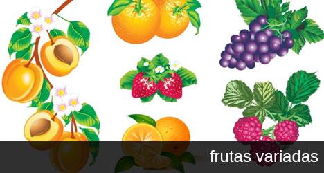 Plantilla con vectores de frutas variadas